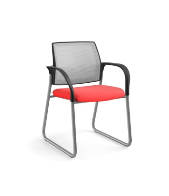 HON Ignition Multi-Purpose Chair | Sled Base | Fixed Arms | Glides | Fog 4-way stretch Mesh Back | Ruby Seat Fabric | Platinum Frame