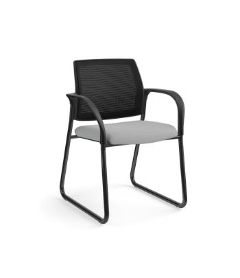 HON Ignition Multi-Purpose Chair | Sled Base | Fixed Arms | Glides | Black 4-way stretch Mesh Back | Frost Seat Fabric | Black Frame