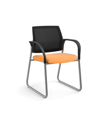 HON Ignition Multi-Purpose Chair | Sled Base | Fixed Arms | Glides | Black 4-way stretch Mesh Back | Apricot Seat Fabric | Platinum Frame