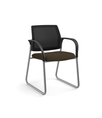 HON Ignition Multi-Purpose Chair | Sled Base | Fixed Arms | Glides | Black 4-way stretch Mesh Back | Espresso Seat Fabric | Platinum Frame