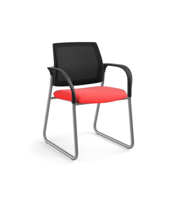 HON Ignition Multi-Purpose Chair | Sled Base | Fixed Arms | Glides | Black 4-way stretch Mesh Back | Ruby Seat Fabric | Platinum Frame