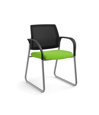 HON Ignition Multi-Purpose Chair | Sled Base | Fixed Arms | Glides | Black 4-way stretch Mesh Back | Pear Seat Fabric | Platinum Frame