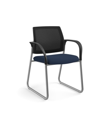 HON Ignition Multi-Purpose Chair | Sled Base | Fixed Arms | Glides | Black 4-way stretch Mesh Back | Navy Seat Fabric | Platinum Frame