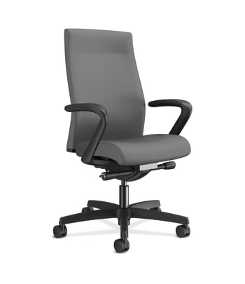 HON Ignition 2.0 Mid-Back Upholstered Task | Andvanced Synchro-Tilt | Fixed Arms | Frost Fabric