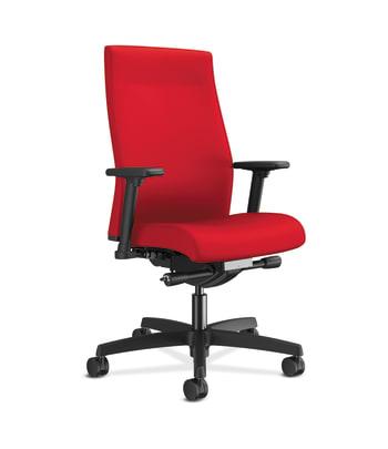 HON Ignition 2.0 Mid-Back Upholstered Task   Andvanced Synchro-Tilt   Adjustable Arms   Ruby Fabric   Adjustable Lumbar