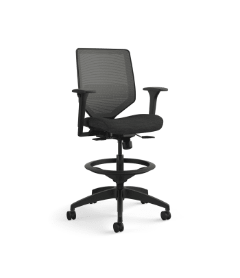 HON Solve Mid-Back Task Stool | Charcoal 4-way stretch Mesh Back | Adjustable Lumbar | Black Frame | Ink Seat Fabric