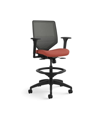 HON Solve Mid-Back Task Stool | Charcoal 4-way stretch Mesh Back | Adjustable Lumbar | Black Frame |  Bittersweet Seat Fabric