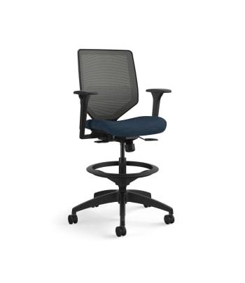 HON Solve Mid-Back Task Stool | Charcoal 4-way stretch Mesh Back | Adjustable Lumbar | Black Frame |  Midnight Seat Fabric