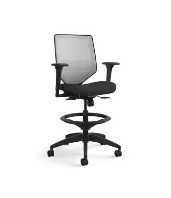 HON Solve Mid-Back Task Stool   Fog 4-way stretch Mesh Back   Adjustable Lumbar   Black Frame    Ink Seat Fabric