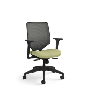 HON Solve Mid-Back Task Chair | Charcoal 4-way stretch Mesh Back |Adjustable Lumbar | Black Frame |  Meadow Seat Fabric