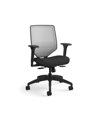 HON Solve Mid-Back Task Chair | Fog 4-way stretch Mesh Back |Adjustable Lumbar | Black Frame |  Ink Seat Fabric