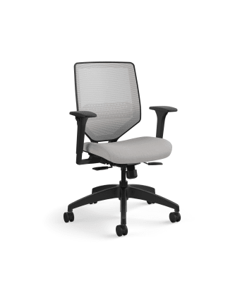 HON Solve Mid-Back Task Chair | Fog 4-way stretch Mesh Back |Adjustable Lumbar | Black Frame |  Sterling Seat Fabric
