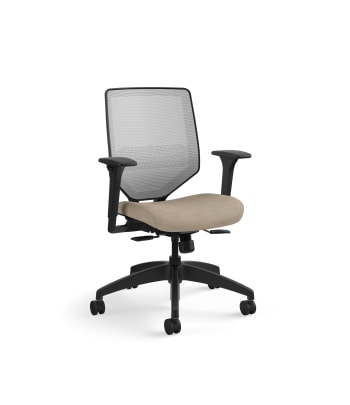 HON Solve Mid-Back Task Chair | Fog 4-way stretch Mesh Back |Adjustable Lumbar | Black Frame |  Putty Seat Fabric