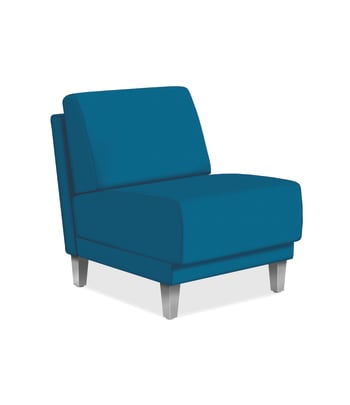 HON Grove Single Seat Lounge | Armless | Peacock Fabric | Tapered Square Legs | Textured Silver Legs