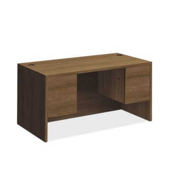 "HON 10500 Series Double Pedestal Desk   2 Box / 2 File Drawers   60""W   Pinnacle Finish"