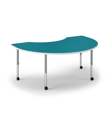 "HON Build Table | Arc Shape | 72""W x 48""D | Blue Agave Laminate | Designer White T-Mold | Platinum Legs"