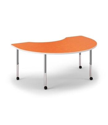 "HON Build Table | Arc Shape | 72""W x 48""D | Tangerine Laminate | Designer White T-Mold | Platinum Legs"