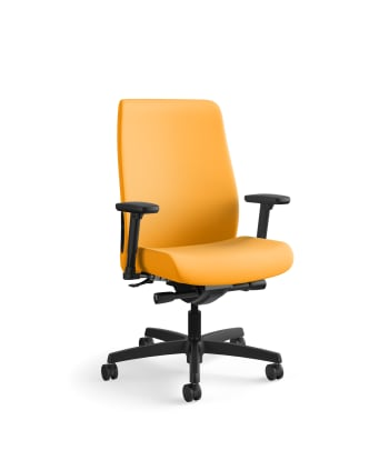 HON Endorse Mid-Back Task Chair | Fabric Outer Back | Built-In Lumbar | Synchro-Tilt, Seat Glide | Goldenrod Fabric