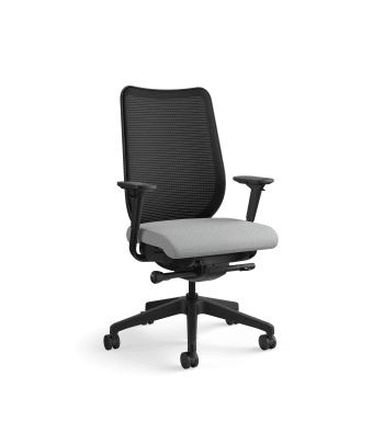 HON Nucleus Task Chair   Black 4-way stretch Back   Synchro-Tilt, Seat Glide   Adjustable Arms   Frost Fabric