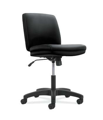 HON Network Low-Back Task Chair | Swivel-Tilt Control | Armless | Black SofThread Leather