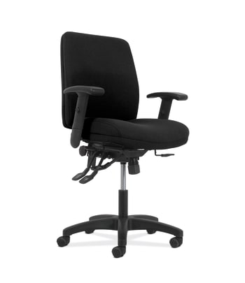 HON Network Mid-Back Task Chair | Asynchronous Control | Height- and Width-Adjustable Arms | Black Fabric