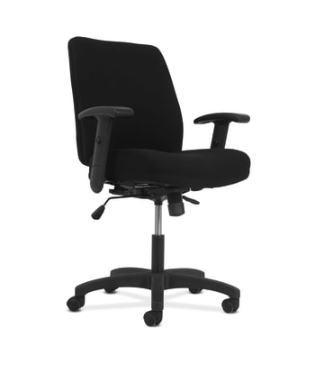 HON Network Mid-Back Task Chair | Synchro-Tilt Control With Seat Slider | Height- and Width-Adjustable Arms | Black Fabric