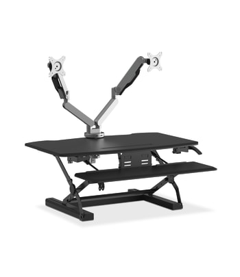 HON Coordinate Desktop Riser | Dual Monitor Arms | Black Finish