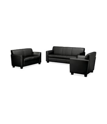 HON Circulate Lounge Set | Sofa, Loveseat, Club Chair | Black Leather