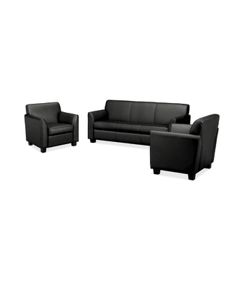 HON Circulate Lounge Set | Sofa and 2 Club Chairs | Black Leather