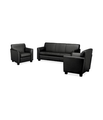 HON Circulate Lounge Set   Sofa and 2 Club Chairs   Black Leather