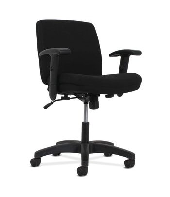 HON Network Low-Back Task Chair | Swivel-Tilt Control | Height-Adjustable Arms | Black Fabric