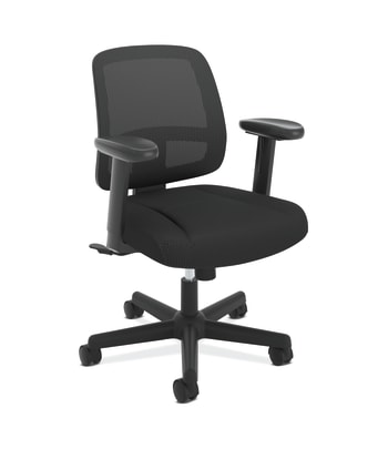 HON ValuTask Mesh Back Task Chair | Center-Tilt | Height-Adjustable Arms | Black Sandwich Mesh