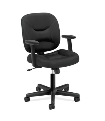 HON ValuTask Low-Back Task Chair | Center-Tilt | Height-Adjustable Arms | Black Sandwich Mesh