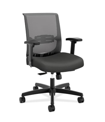 HON Convergence Task Chair | Synchro-Tilt With Seat Slide Control | Height- and Width-Adjustable Arms | Iron Ore Fabric