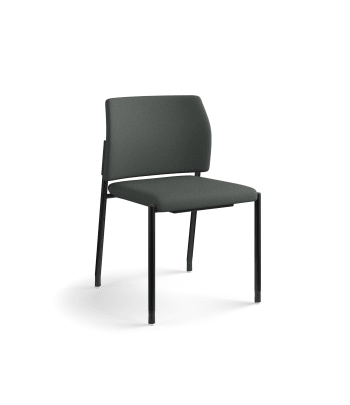 HON Accommodate Guest Chair | Armless | Casters and Glides | Iron Ore Fabric | Textured Black Frame