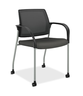 HON Ignition Multi-Purpose Stacking Chair | 4-Leg | Fixed Arms | Casters | Black 4-way stretch Mesh Back | Iron Ore Seat Fabric | Platinum Frame