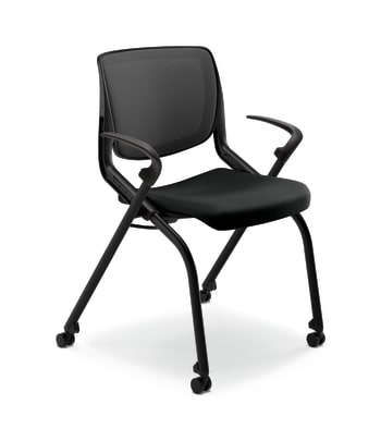 HON Motivate Nesting Stacking Chair | Black 4-way Stretch Back | Fixed Arms | Onyx Shell | Black Frame | Black Fabric
