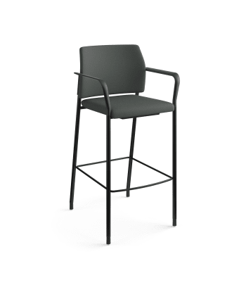 HON Accommodate Cafe Stool | Fixed Arms | Iron Ore Fabric | Textured Black Frame