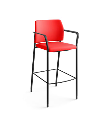 HON Accommodate Cafe Stool | Fixed Arms | Ruby Fabric | Textured Black Frame