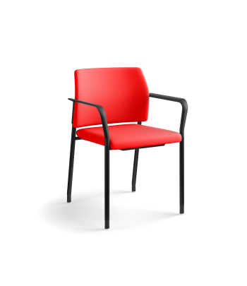 HON Accommodate Guest Chair | Fixed Arms | Casters and Glides | Ruby Fabric | Textured Black Frame