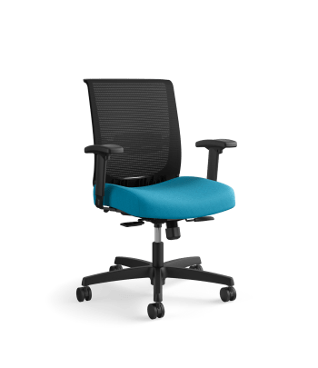 HON Convergence Task Chair | Synchro-Tilt With Seat Slide Control | Height- and Width-Adjustable Arms | Peacock Fabric