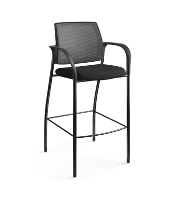 HON Ignition Cafe-Height 4-Leg Stool   Fixed Arms   Glides   Charcoal 4-way stretch Mesh Back   Black Seat Fabric   Black Frame