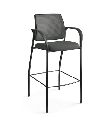 HON Ignition Cafe-Height 4-Leg Stool | Fixed Arms | Glides | Charcoal 4-way stretch Mesh Back | Iron Ore Seat Fabric | Black Frame