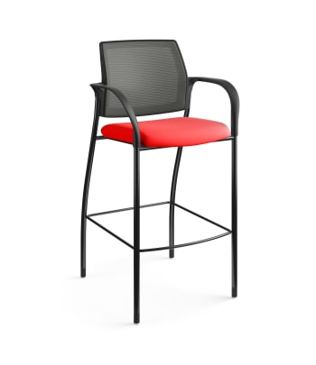 HON Ignition Cafe-Height 4-Leg Stool | Fixed Arms | Glides | Charcoal 4-way stretch Mesh Back | Ruby Seat Fabric | Black Frame