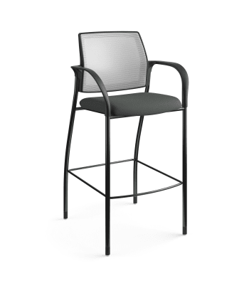 HON Ignition Cafe-Height 4-Leg Stool | Fixed Arms | Glides | Fog 4-way stretch Mesh Back | Iron Ore Seat Fabric | Black Frame