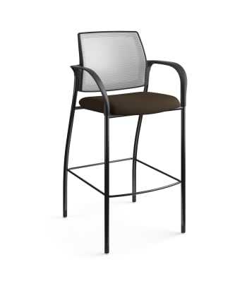 HON Ignition Cafe-Height 4-Leg Stool | Fixed Arms | Glides | Fog 4-way stretch Mesh Back | Espresso Seat Fabric | Black Frame