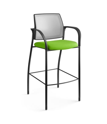 HON Ignition Cafe-Height 4-Leg Stool   Fixed Arms   Glides   Fog 4-way stretch Mesh Back   Pear Seat Fabric   Black Frame