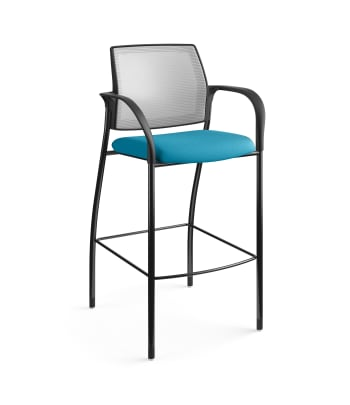 HON Ignition Cafe-Height 4-Leg Stool   Fixed Arms   Glides   Fog 4-way stretch Mesh Back   Peacock Seat Fabric   Black Frame