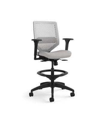 HON Solve Mid-Back Task Stool | Synchro-Tilt with Seat Slider | Adjustable Arms | Titanium ReActiv Back | Black Adjustable Lumbar | Sterling Seat Fabric
