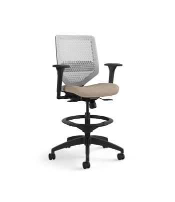 HON Solve Mid-Back Task Stool   Synchro-Tilt with Seat Slider   Adjustable Arms   Titanium ReActiv Back   Black Adjustable Lumbar   Putty Seat Fabric